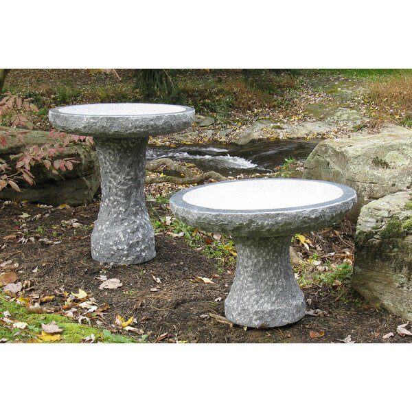 Natural Stone Plume Birdbath by Stone Age Creations