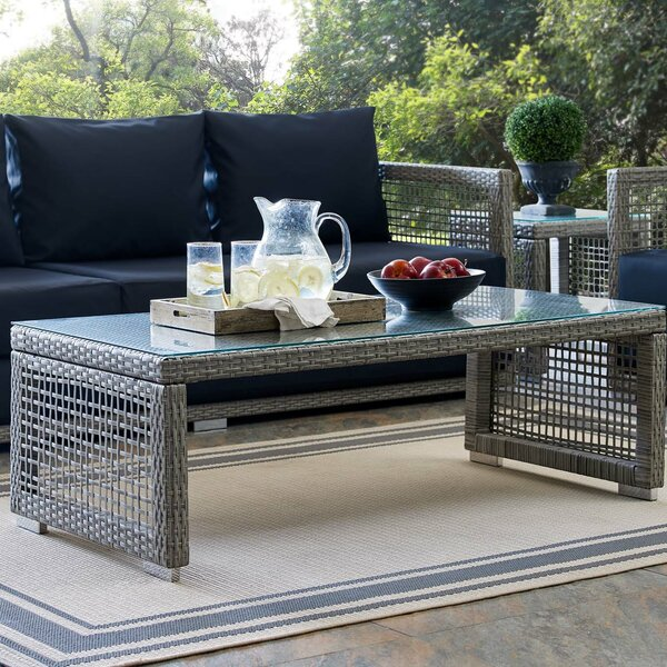 Cassiopeia Glass Coffee Table by Highland Dunes