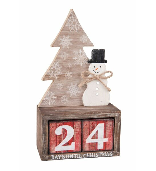 Wood Rustic Snowman and Tree Advent Calendar by The Holiday Aisle