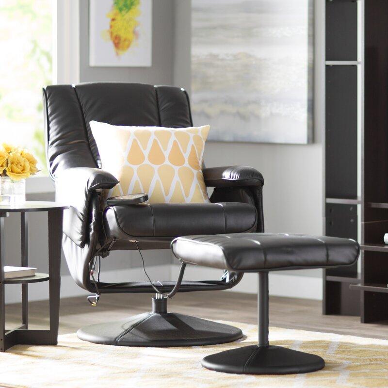 Reclining Massage Chair zipcode design leather heated reclining massage chair with ottoman