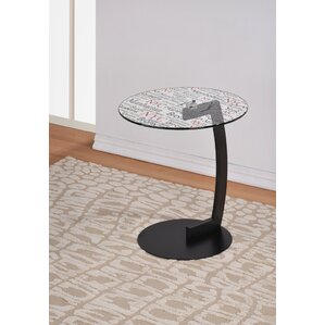 NYC Printed Glass Top End Table by !nspire