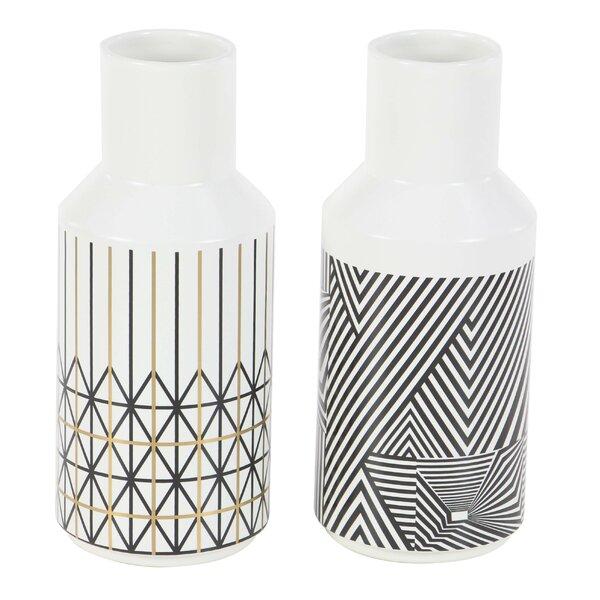 Renken Geometric-Inspired Bud 2 Piece Table Vase Set by Wrought Studio