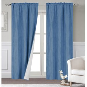 Maxwell Modern Solid Room Darkening Thermal Rod Pocket Curtain Panels (Set of 2)