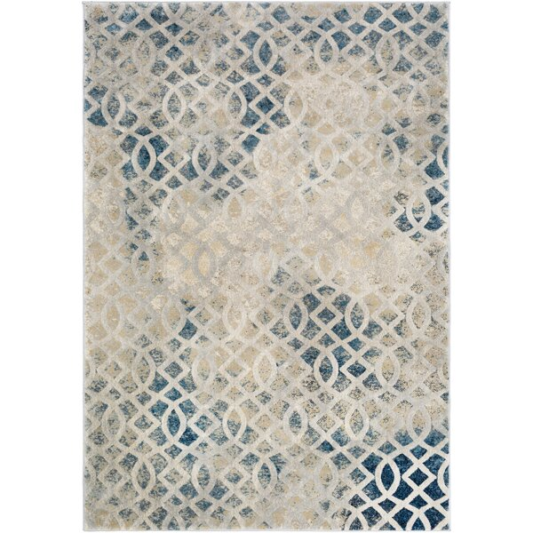 Oakdene Distressed Lattice Cream Area Rug by Wrought Studio