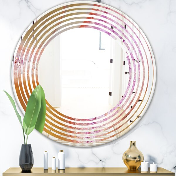 Crystals of Amethyst in Agate Wave Modern Frameless Wall Mirror