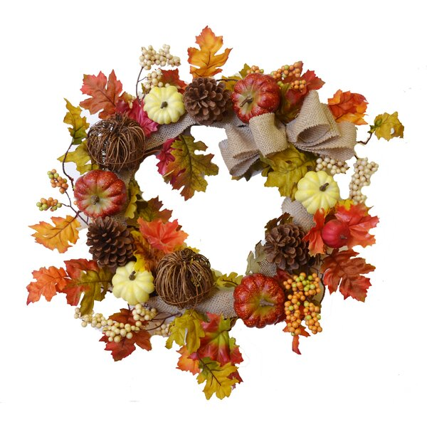 22 Fall Leaves Wreath by Floral Home Decor