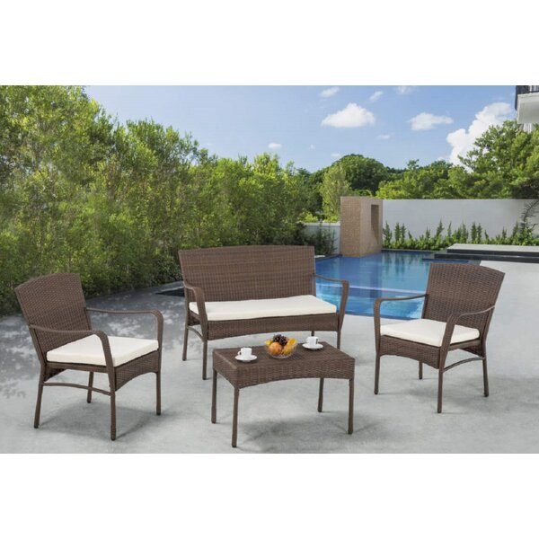 Rebbeca 4 Piece Rattan Sofa Set with Cushions by Ivy Bronx