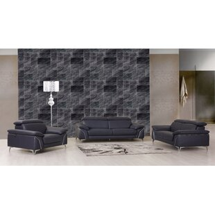 Aigars 3 Piece Leather Living Room Set by Orren Ellis