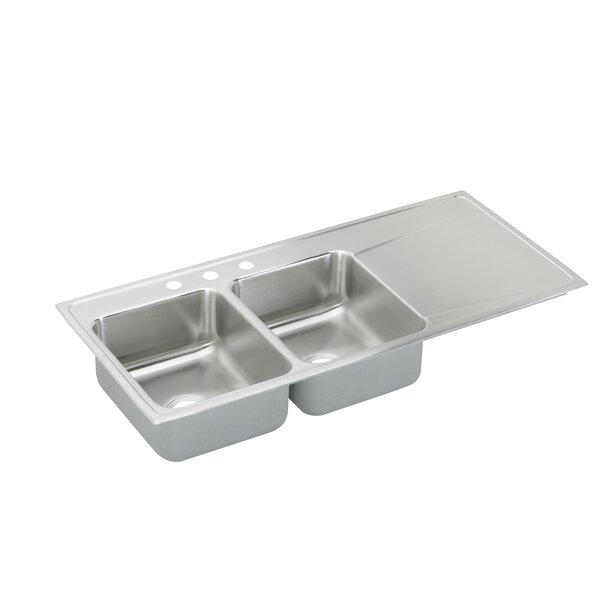 Lusterone 48 L x 22 W Double Basin Drop-In Kitchen Sink by Elkay