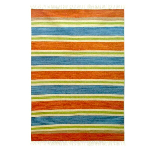Lancaster Bold India Hand-Woven Wool Blue/Green/Orange Area Rug by Bay Isle Home