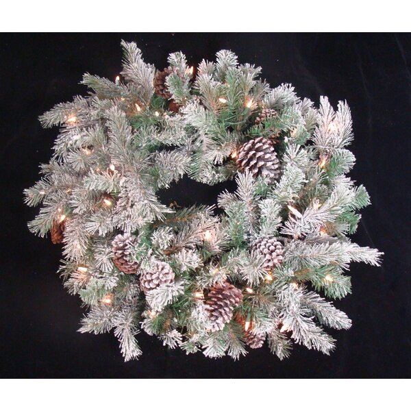 30 Lighted Artificial Flocked Pine Cone Christmas Wreath by Tori Home