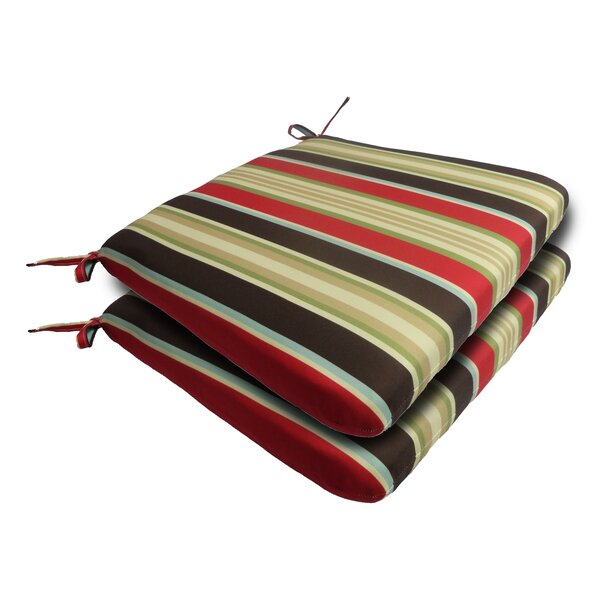 Sebastian Stripe Outdoor Dining Chair Cushion (Set of 2) by Breakwater Bay