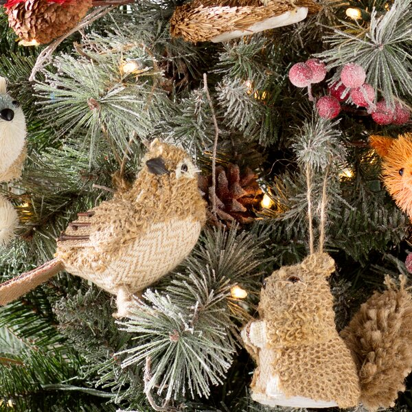 2 Piece Knit Bird and Squirrel Christmas Ornament