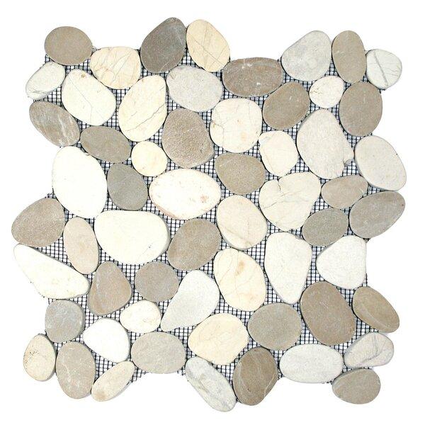 Zambezi Random Sized Natural Stone Mosaic Tile in Tan/White by CNK Tile
