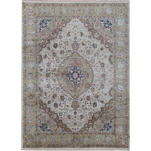One-of-a-Kind Hand-Knotted Ivory 8'9 x 11'10 Area Rug