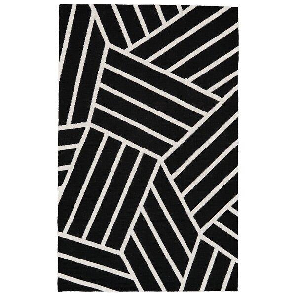 Kobayashi Black/White Area Rug by Winston Porter