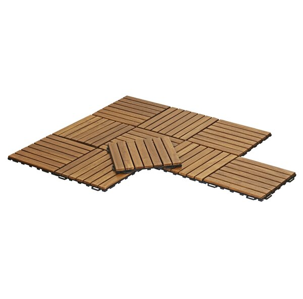 Stallings Outdoor Floor 11.8 x 11.8 Wood Interlock