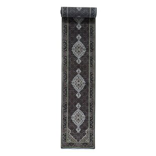 One-of-a-Kind Bakken Mahi Hand-Knotted Runner 2'7 x 19'10 Wool/Silk Black Area Rug Isabelline
