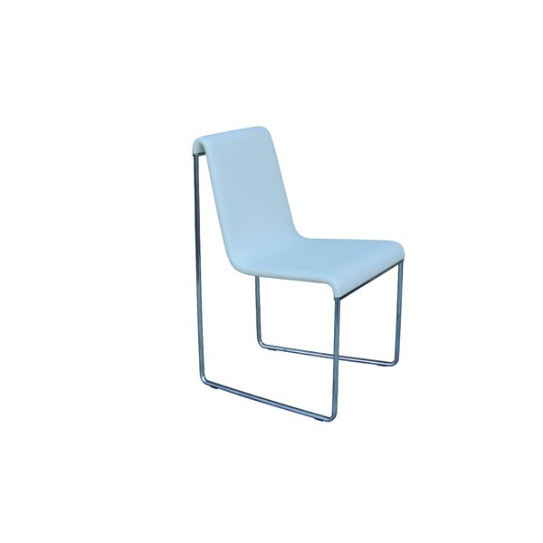 Slender Eco Leather Chrome Frame Side Chair by B&T Design