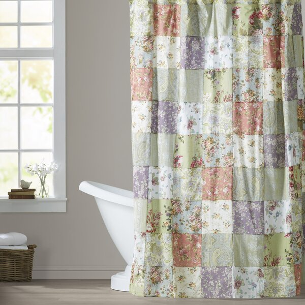 Bauer Patchword Cotton Shower Curtain by August Grove