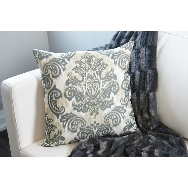 Emerald Damask Throw Pillow by Flato Home Products