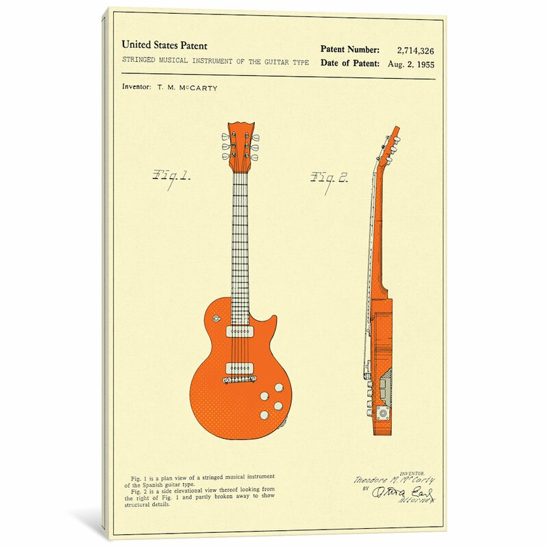 United States Patent Print Les Paul Guitar Gibson 1955 McCarty