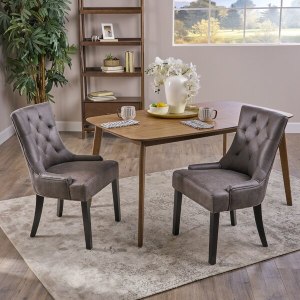 Wynsum Traditional Microfiber Dining Chair (Set of 2) by Alcott Hill