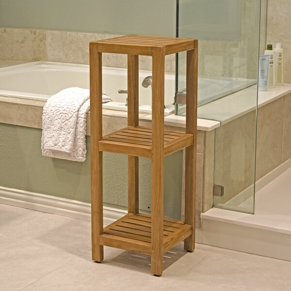 Ailey Spa Teak 3-Tier Square 12.2 W x 35 H Shelving
