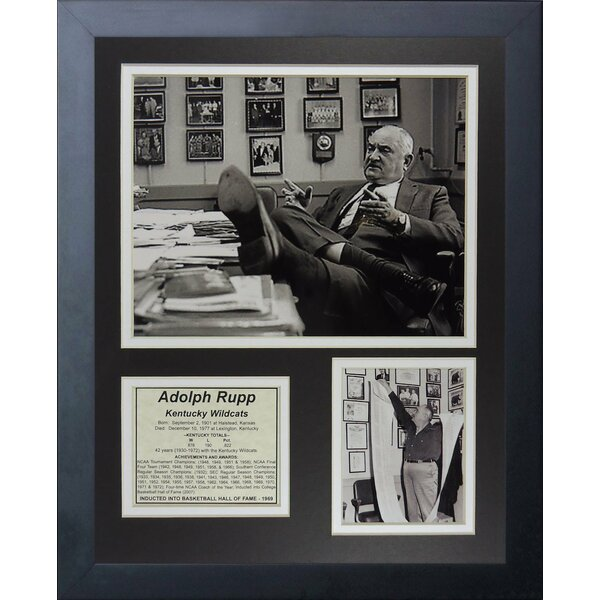 Adolph Rupp Kentucky Wildcats Framed Memorabilia by Legends Never Die