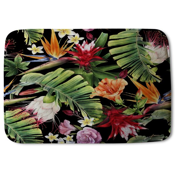 Esita Tropical Flowers and Plant Leaves Designer Rectangle Non-Slip Floral Bath Rug