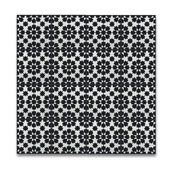 Ahfir 8 x 8 Handmade Cement Tile in Black/White by Moroccan Mosaic