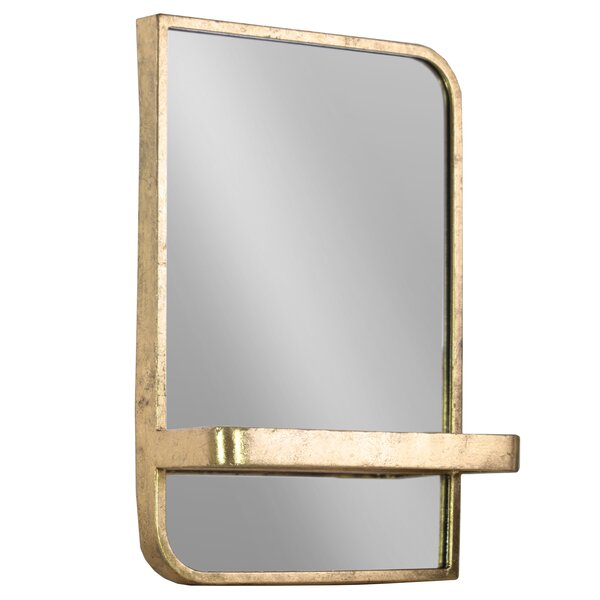 Fausto Rectangle Metal Wall Mirror with Shelf by Bloomsbury Market