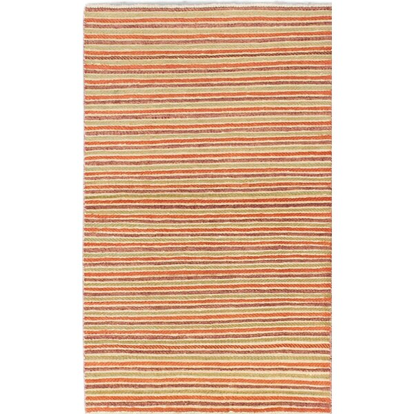 One-of-a-Kind Kadyn Hand-Knotted Orange Area Rug by World Menagerie