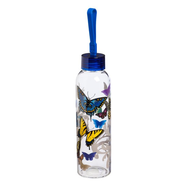 Riverview Flight of the Butterflies 18 oz. Glass Water Bottle by August Grove