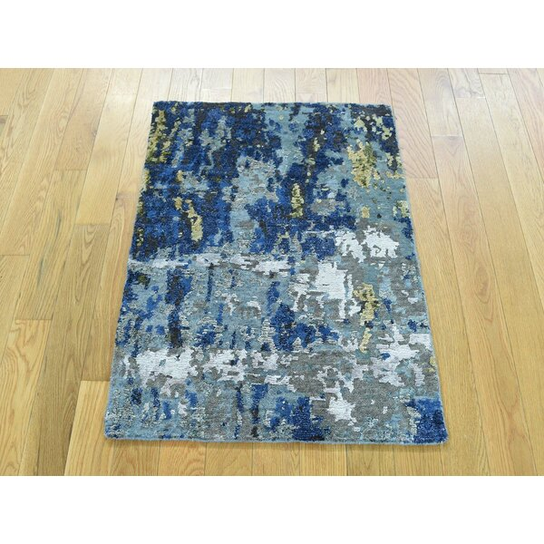 One-of-a-Kind Bowery Abstract Design Handwoven Wool/Silk Area Rug by Isabelline