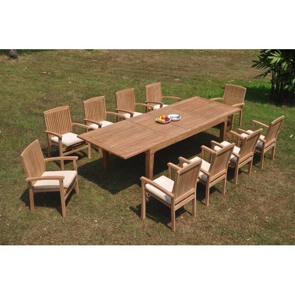 Dorffman 11 Piece Teak Dining Set by Rosecliff Heights