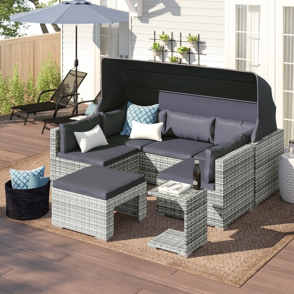 Sedgwick 5 Piece Rattan Sectional Seating Group with Cushions by Zipcode Design