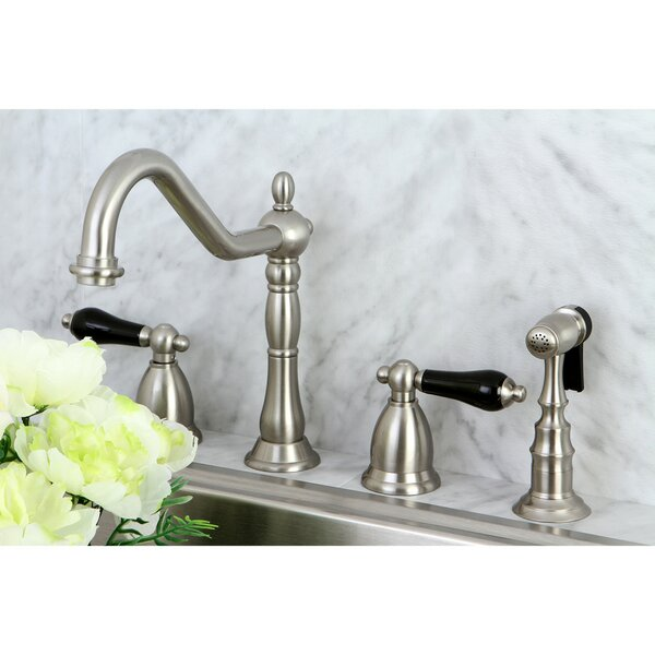 Duchess Pull Down Double Handle Kitchen Faucet with Side Spray by Kingston Brass