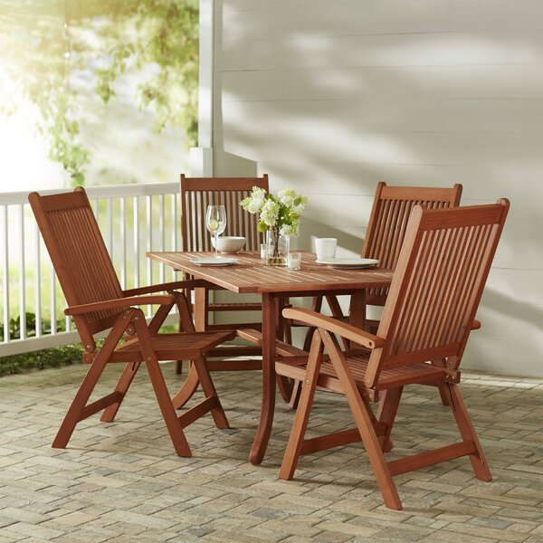 Monterry Eucalyptus Wood 5 Piece Dining Set By Beachcrest Home