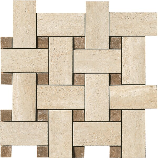 Travertini Random Sized Matte Mosaic Weave Floor and Wall Tile in Beige by Samson