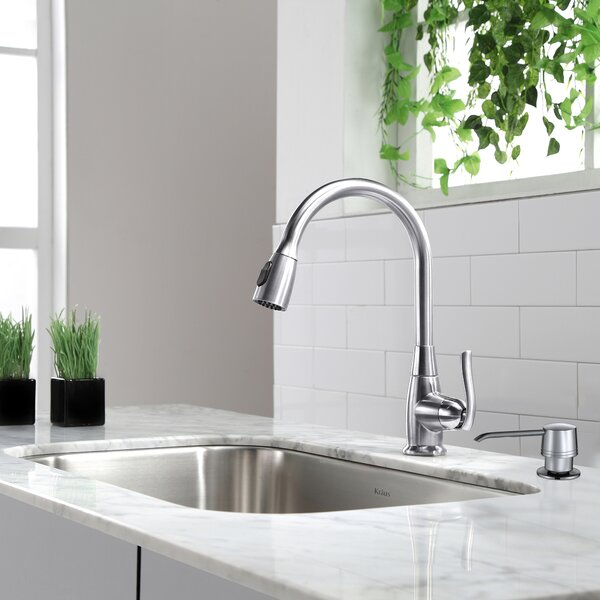 Premium Faucets Pull Down Single Handle Kitchen Faucet with Optional Soap Dispenser by Kraus