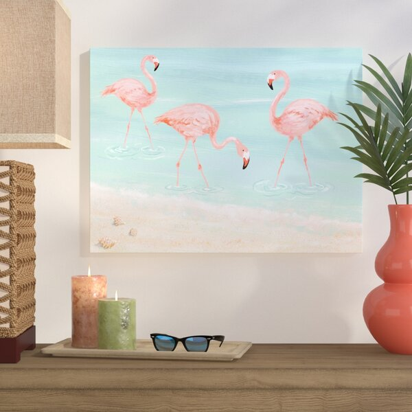 Flamingos By The Beach Print On Wrapped Canvas By Bay Isle Home.