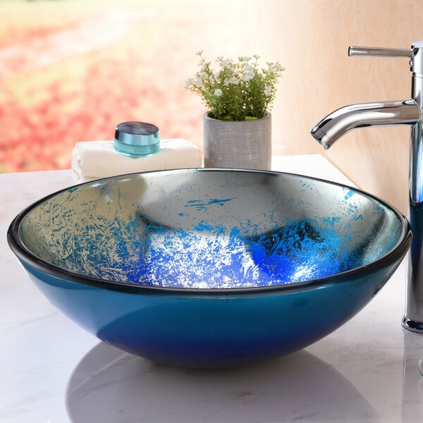 Oceana Glass Circular Vessel Bathroom Sink by ANZZI