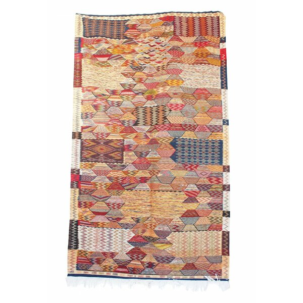 Aknif Moroccan Hand Knotted Wool Navy/Pink Area Rug by Indigo&Lavender