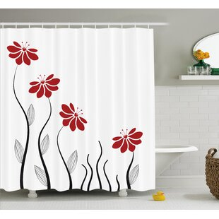 Nielsen Petals With Striped Leaves and Lines Modern Geometric Design Print Shower Curtain ByWinston Porter