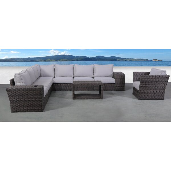 Cochran 11 Piece Rattan Sectional Seating Group with Cushions by Rosecliff Heights Rosecliff Heights