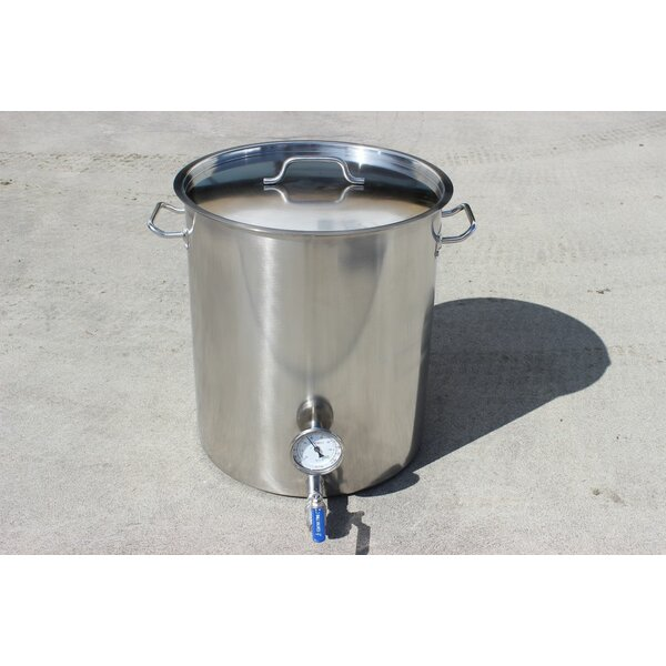 Stainless Steel 100 Qt. Home Brew Kettle with 2 Welded on Couplers by Concord Cookware