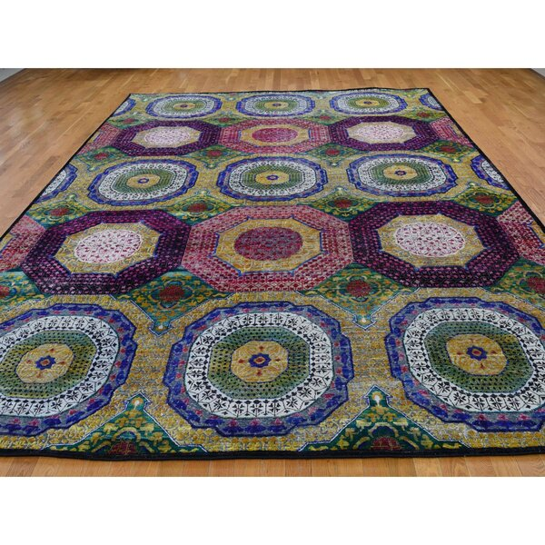 One-of-a-Kind Coulonge Hand-Knotted Blue/Burgundy/Green 10'2 x 14'3 Area Rug