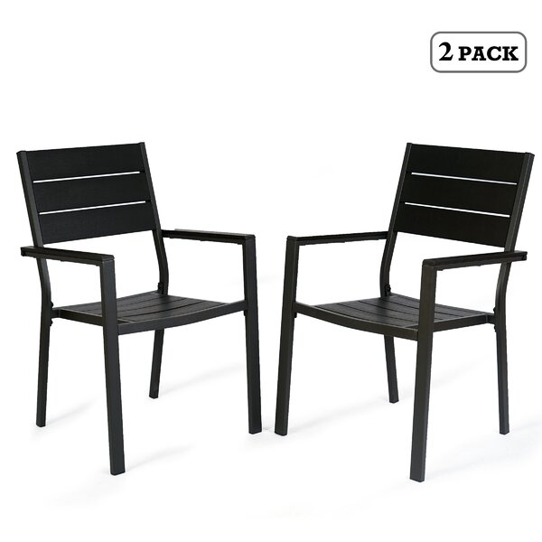 Alsio Stacking Patio Dining Chair (Set of 2) by Latitude Run