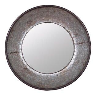 Foreside Home & Garden Galvanized Round Accent Wall Mirror